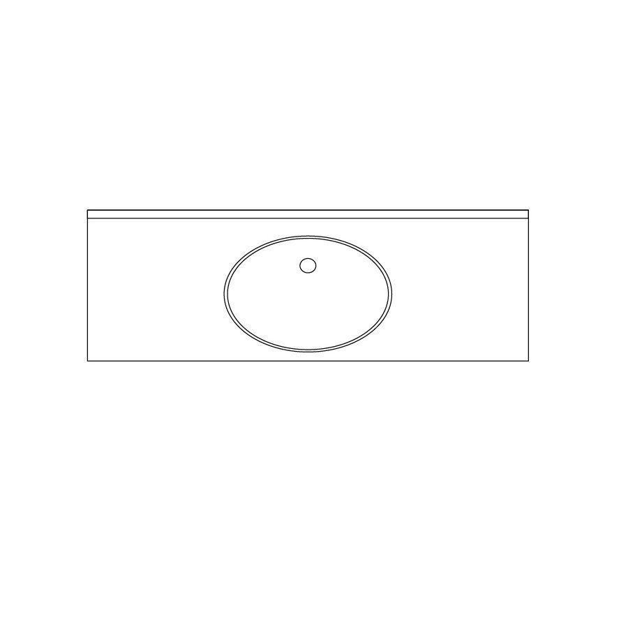 US Marble Baroque Aspen Solid Surface Undermount Bathroom Vanity Top (Common: 61-in x 22-in; Actual: 66-in x 22-in)