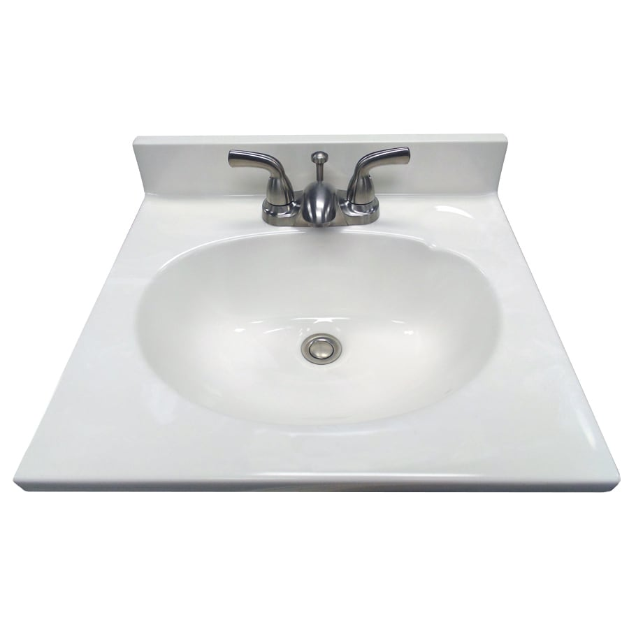 US Marble Ambassador 101 - White On White Cultured Marble Integral Single Sink Bathroom Vanity Top (Common: 19-in x 17-in; Actual: 19-in x 17-in)