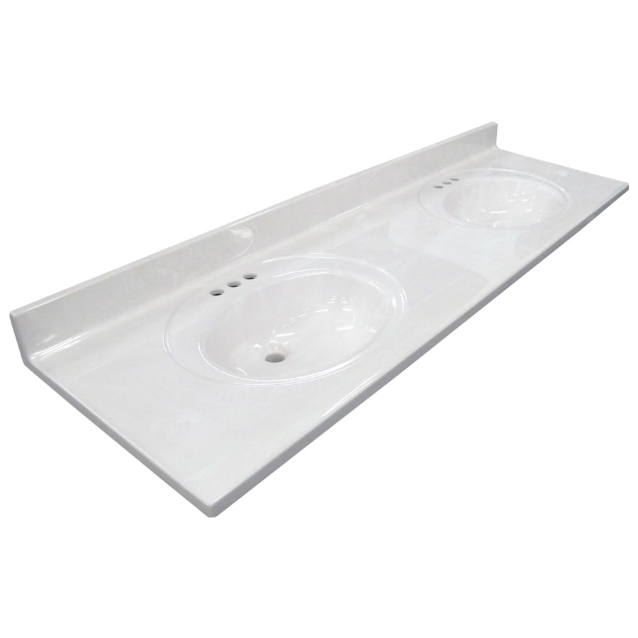 US Marble Ambassador 101- White On White Cultured Marble Integral Double Sink Bathroom Vanity Top (Common: 73-in x 22-in; Actual: 73-in x 22-in)