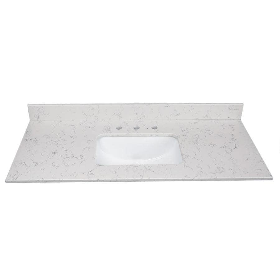 US Marble Arctic Carrara Quartz Undermount Single Sink Bathroom Vanity Top (Common: 31-in x 22-in; Actual: 31-in x 22.25-in)