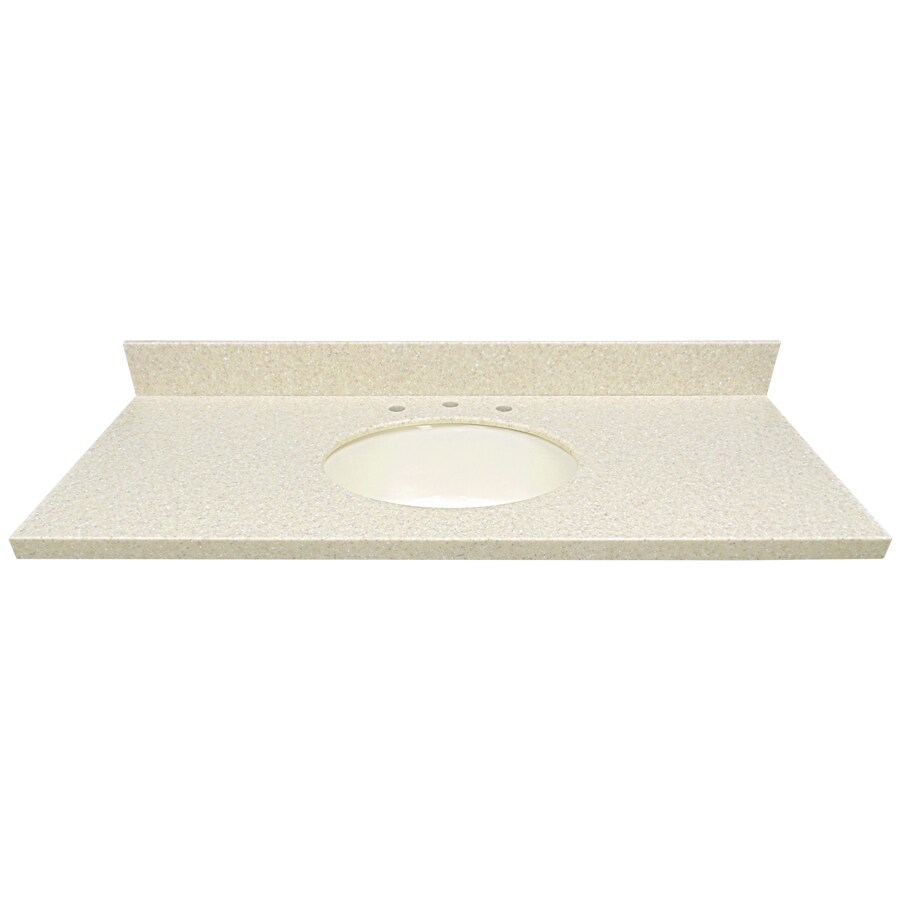 US Marble Wheat Solid Surface Undermount Single Sink Bathroom Vanity Top (Common: 49-in x 22-in; Actual: 49-in x 22-in)