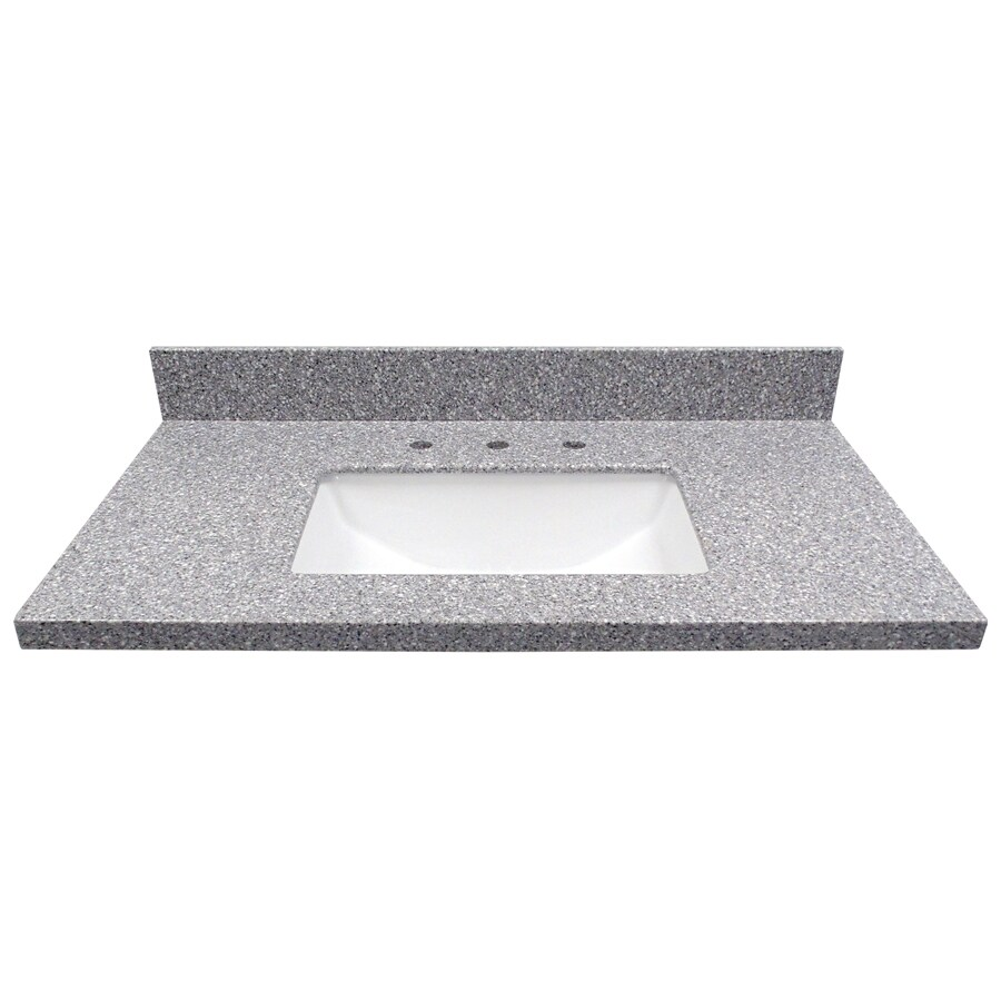 US Marble Rushmore Solid Surface Undermount Single Sink Bathroom Vanity Top (Common: 37-in x 22-in; Actual: 37-in x 22-in)