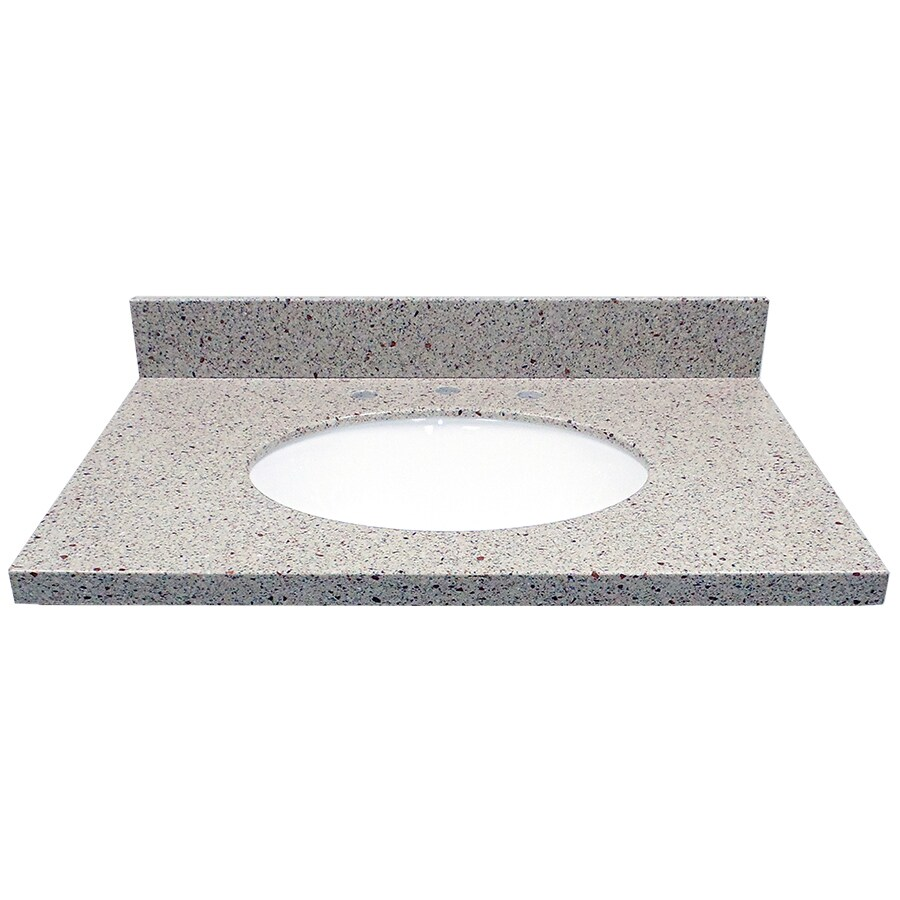 US Marble Knottingham Solid Surface Undermount Single Sink Bathroom Vanity Top (Common: 31-in x 22-in; Actual: 31-in x 22-in)