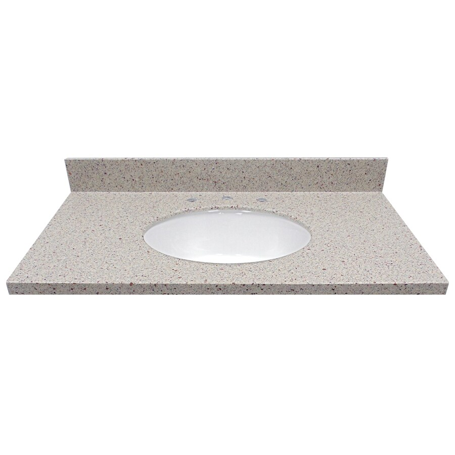 US Marble Knottingham Solid Surface Undermount Single Sink Bathroom Vanity Top (Common: 37-in x 22-in; Actual: 37-in x 22-in)
