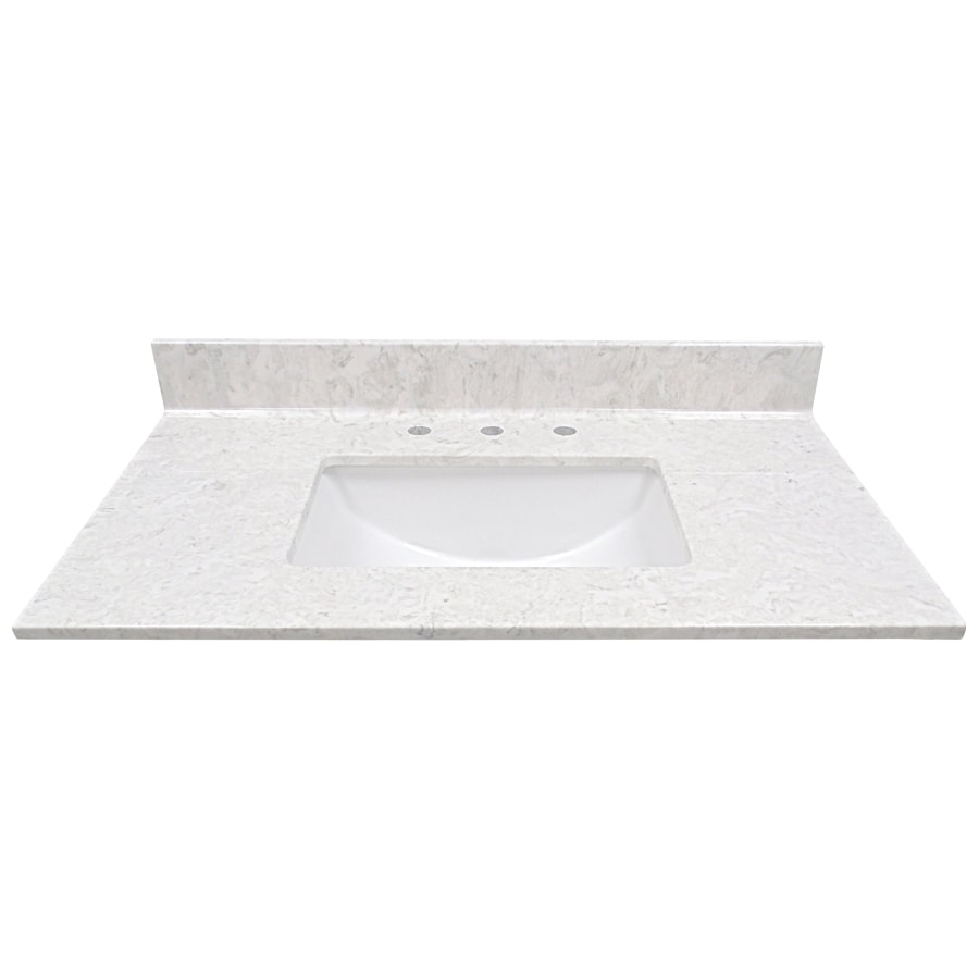 US Marble Steel Grey On White Cultured Marble Undermount Single Sink Bathroom Vanity Top (Common: 37-in x 22-in; Actual: 37-in x 22-in)