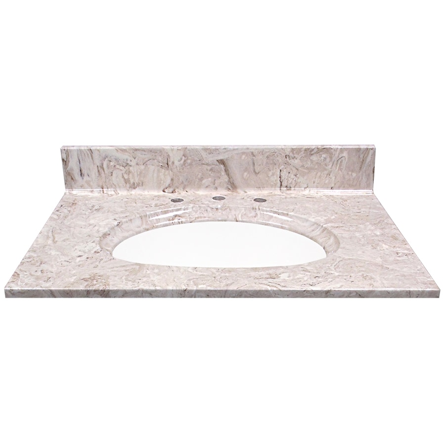 US Marble Brown On White Cultured Marble Integral Single Sink Bathroom Vanity Top (Common: 31-in x 22-in; Actual: 31-in x 22-in)