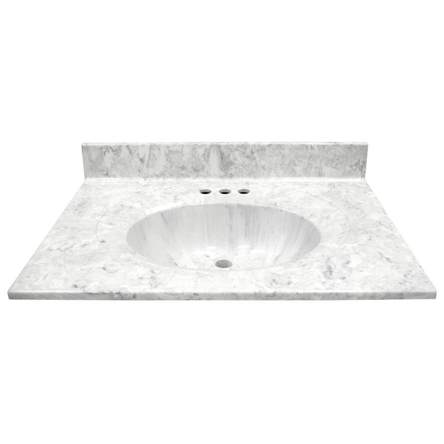US Marble Recessed Oval Standard Gray On White Cultured Marble Integral Single Sink Bathroom Vanity Top (Common: 31-in x 22-in; Actual: 31-in x 22-in)