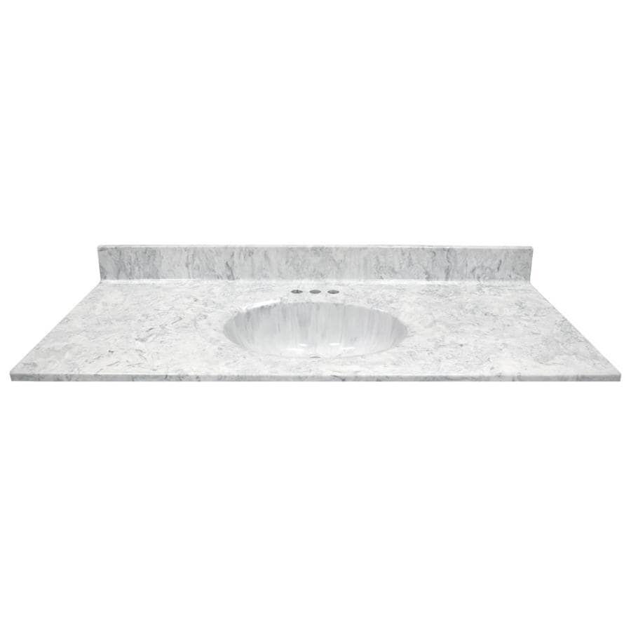 US Marble Recessed Oval Standard Gray On White Cultured Marble Integral Single Sink Bathroom Vanity Top (Common: 49-in x 22-in; Actual: 49-in x 22-in)