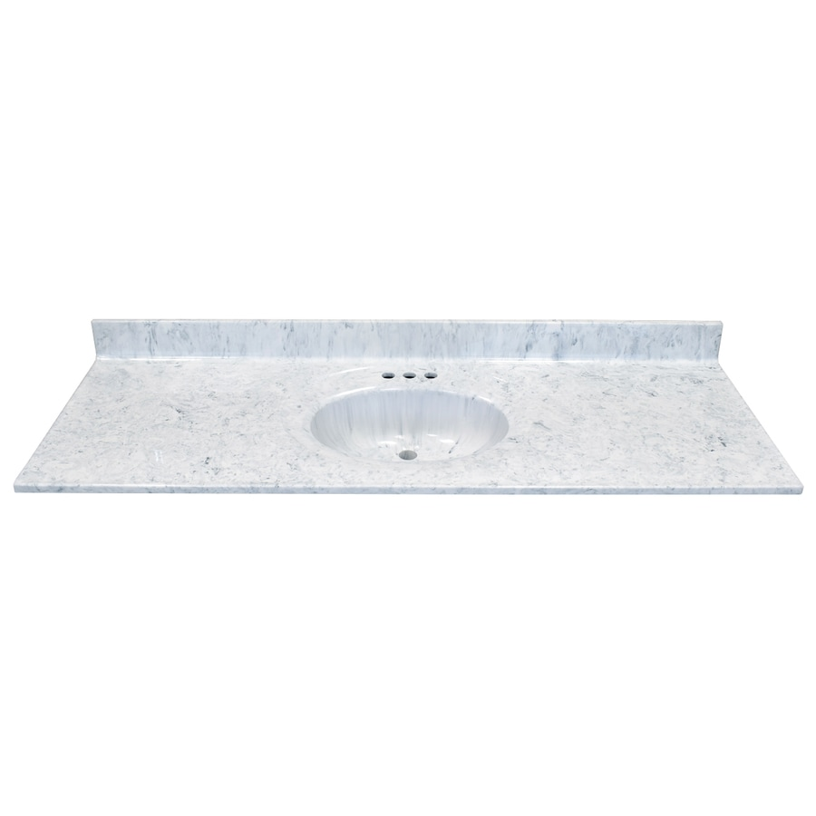 US Marble Recessed Oval Standard Gray On White Cultured Marble Integral Single Sink Bathroom Vanity Top (Common: 61-in x 22-in; Actual: 61-in x 22-in)