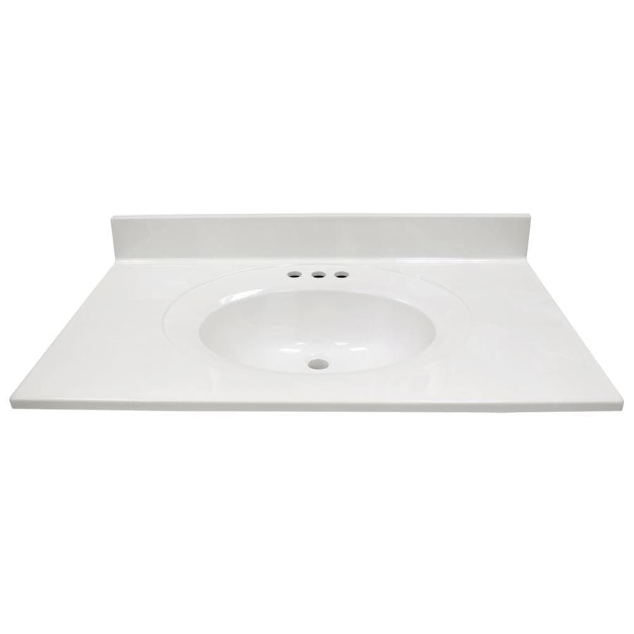 US Marble Recessed Oval Standard White On White Cultured Marble Integral Single Sink Bathroom Vanity Top (Common: 37-in x 22-in; Actual: 37-in x 22-in)