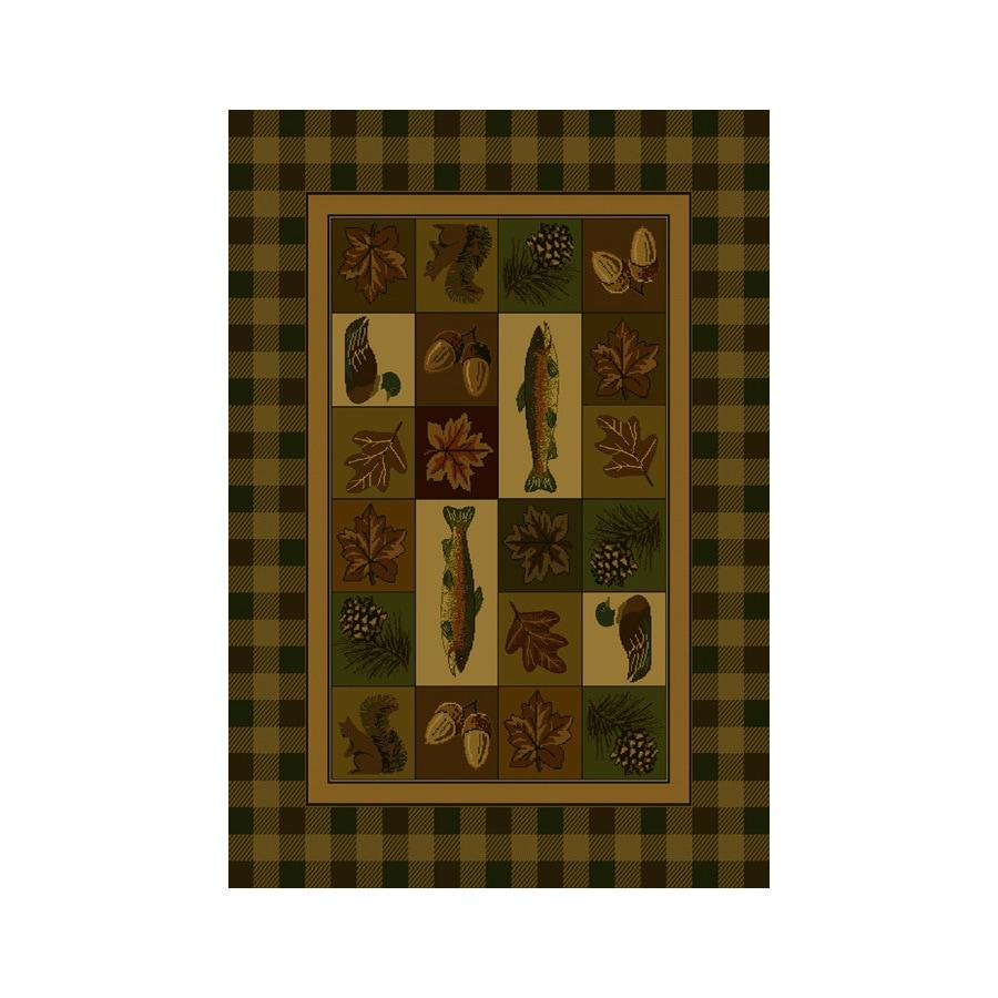 United Weavers Of America Genesis Brown Rectangular Indoor Woven Lodge Area Rug (Common: 5 x 8; Actual: 63-in W x 86-in L)