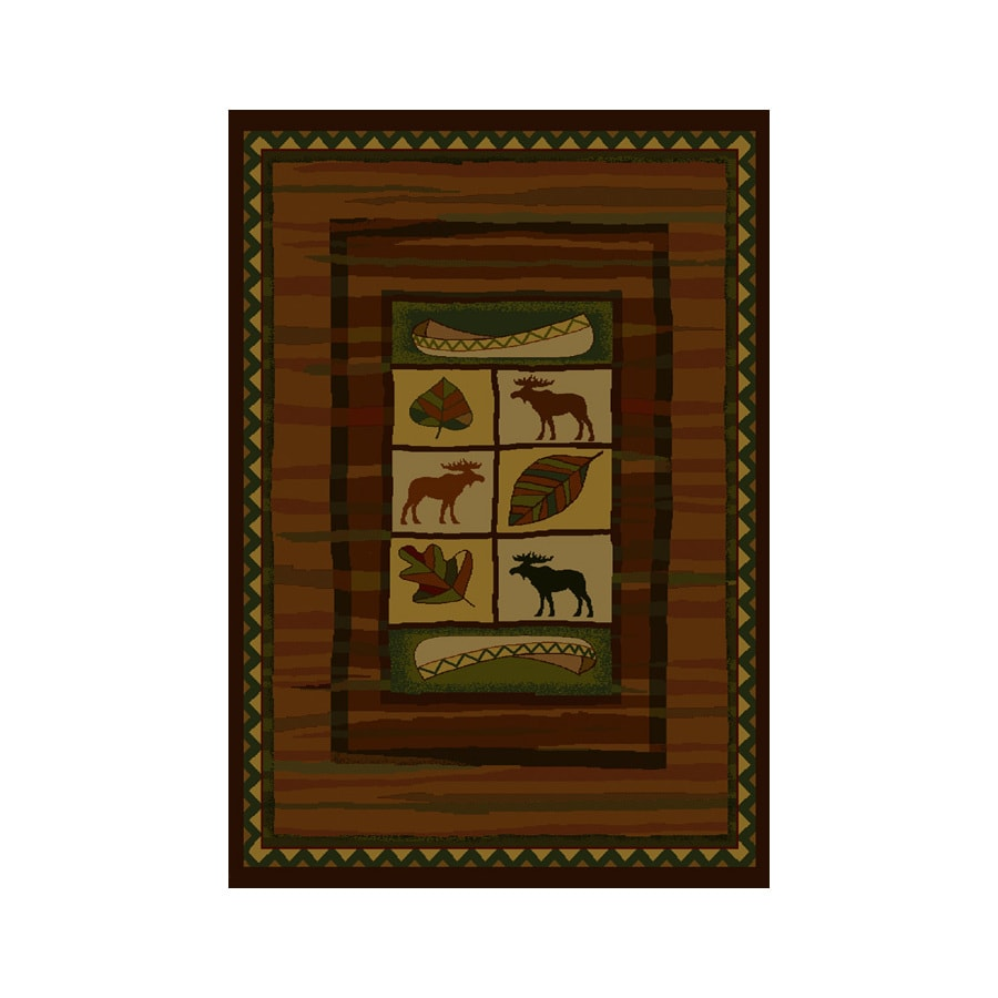 United Weavers Of America Genesis Brown Rectangular Indoor Woven Lodge Area Rug (Common: 8 x 10; Actual: 94-in W x 126-in L)