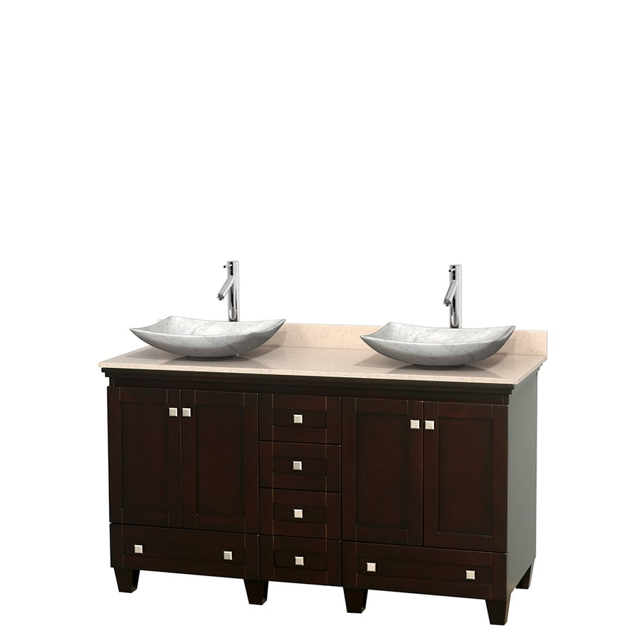 Wyndham Collection Acclaim Espresso Vessel Double Sink Oak Bathroom Vanity with Natural Marble Top (Common: 60-in x 22-in; Actual: 60-in x 22-in)