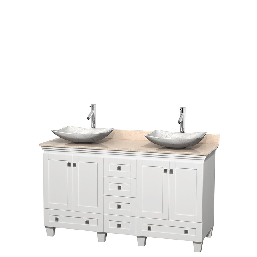 Wyndham Collection Acclaim White Vessel Double Sink Oak Bathroom Vanity with Natural Marble Top (Common: 60-in x 22-in; Actual: 60-in x 22-in)