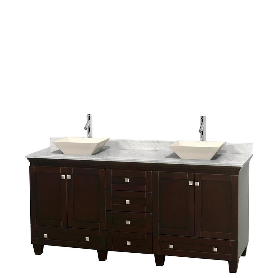 Wyndham Collection Acclaim Espresso Vessel Double Sink Oak Bathroom Vanity with Natural Marble Top (Common: 72-in x 22-in; Actual: 72-in x 22-in)