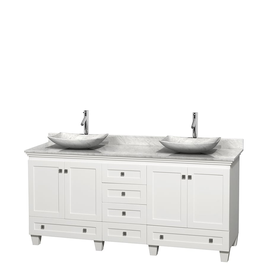 Wyndham Collection Acclaim White Vessel Double Sink Oak Bathroom Vanity with Natural Marble Top (Common: 72-in x 22-in; Actual: 72-in x 22-in)