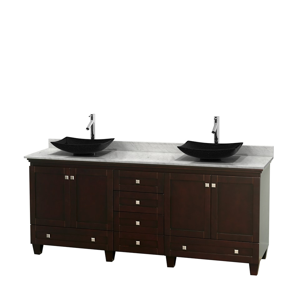 Wyndham Collection Acclaim Espresso Vessel Double Sink Oak Bathroom Vanity with Natural Marble Top (Common: 80-in x 22-in; Actual: 80-in x 22-in)