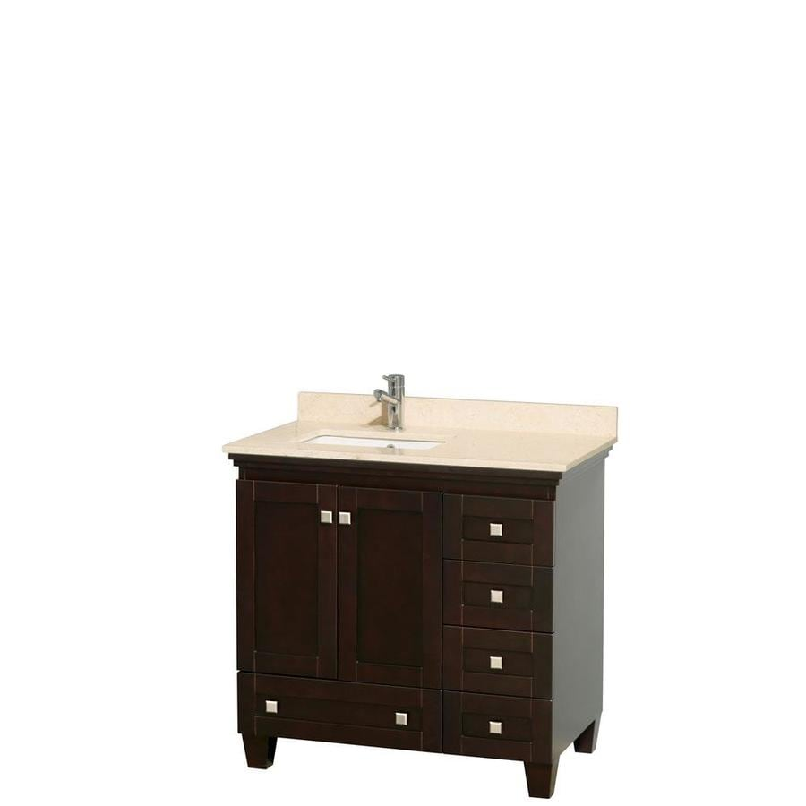 Wyndham Collection Acclaim Espresso Undermount Single Sink Oak Bathroom Vanity with Natural Marble Top (Common: 36-in x 22-in; Actual: 36-in x 22-in)