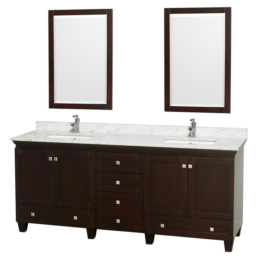 Wyndham Collection Acclaim Espresso Undermount Double Sink Oak Bathroom Vanity with Natural Marble Top (Mirror Included) (Common: 80-in x 22-in; Actual: 80-in x 22-in)