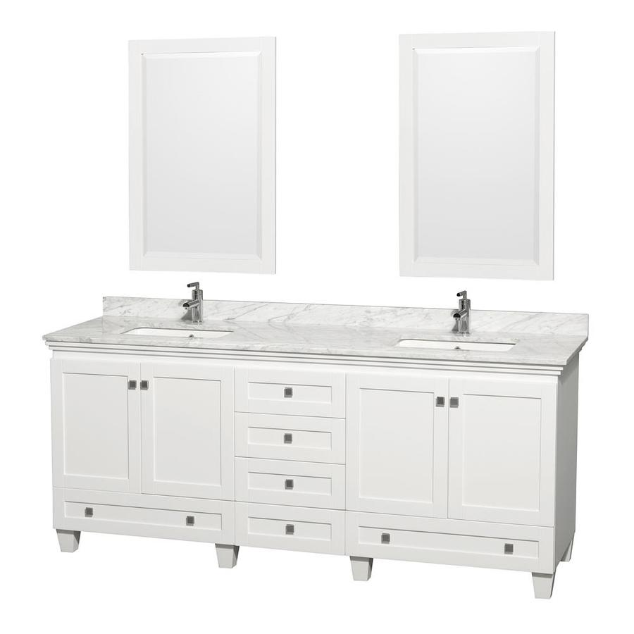 Wyndham Collection Acclaim White Undermount Double Sink Oak Bathroom Vanity with Natural Marble Top (Mirror Included) (Common: 80-in x 22-in; Actual: 80-in x 22-in)