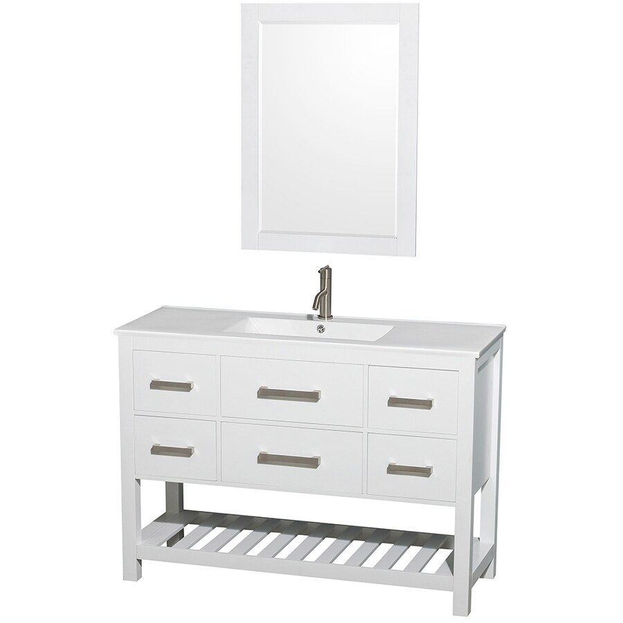 Shop Wyndham Collection Natalie White Integral Single Sink Oak Bathroom Vanity With Engineered