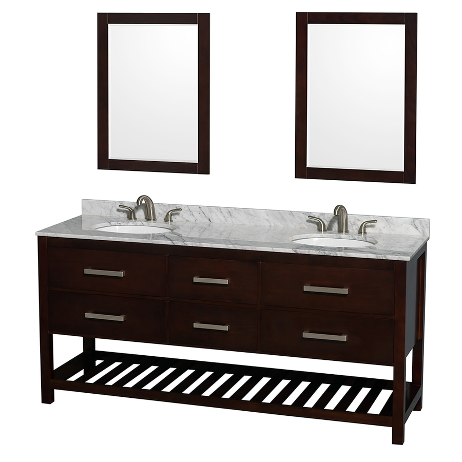 Wyndham Collection Natalie Espresso Undermount Double Sink Oak Bathroom Vanity with Natural Marble Top (Mirror Included) (Common: 72-in x 22-in; Actual: 72-in x 22-in)