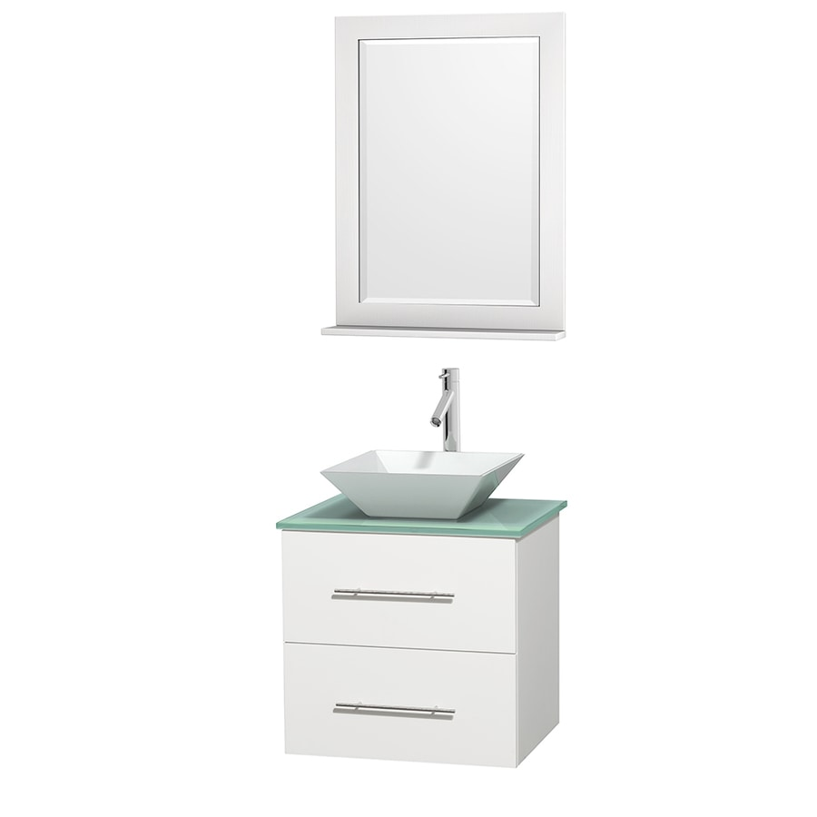 Wyndham Collection Centra White Vessel Single Sink Oak Bathroom Vanity with Tempered Glass and Glass Top (Mirror Included) (Common: 24-in x 19-in; Actual: 24-in x 19-in)