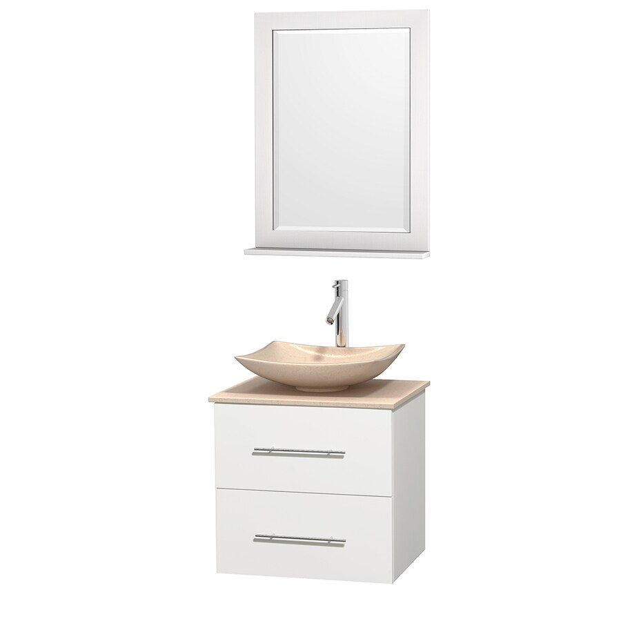 Wyndham Collection Centra White Vessel Single Sink Oak Bathroom Vanity with Natural Marble Top (Mirror Included) (Common: 24-in x 19-in; Actual: 24-in x 19-in)