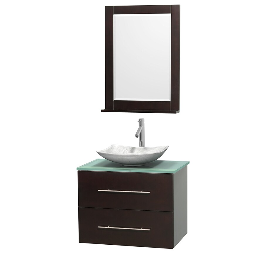 Wyndham Collection Centra Espresso Vessel Single Sink Oak Bathroom Vanity with Tempered Glass and Glass Top (Mirror Included) (Common: 30-in x 20.5-in; Actual: 30-in x 20.5-in)