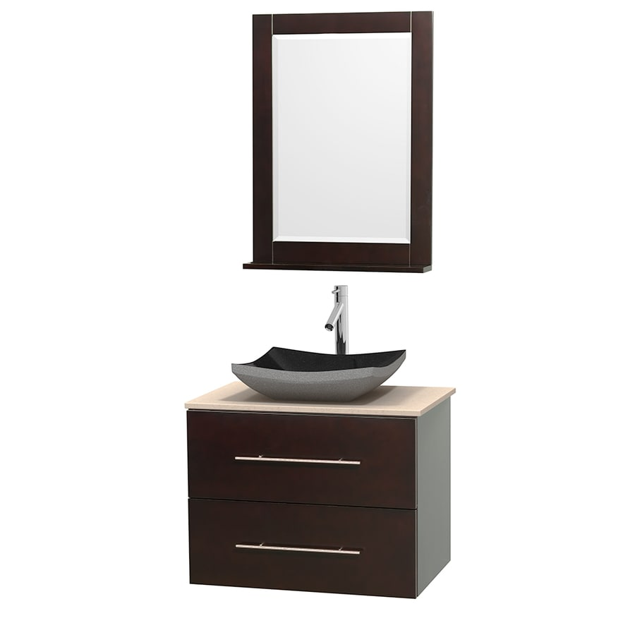 Wyndham Collection Centra Espresso Vessel Single Sink Oak Bathroom Vanity with Natural Marble Top (Mirror Included) (Common: 30-in x 20.5-in; Actual: 30-in x 20.5-in)