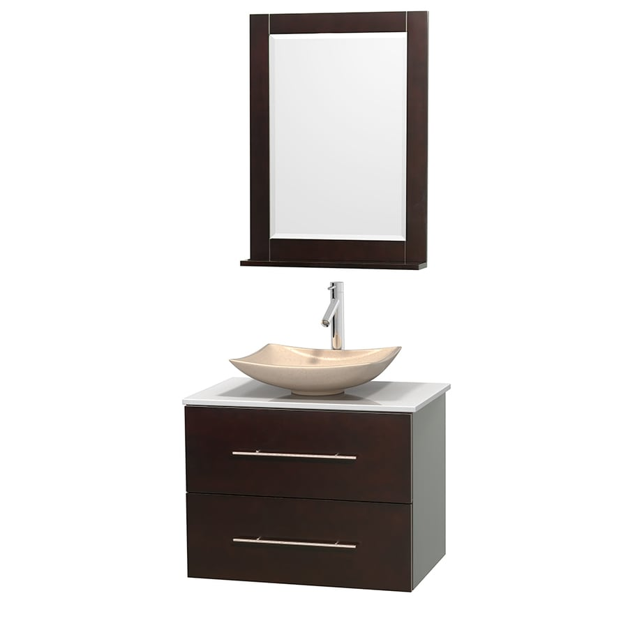 Wyndham Collection Centra Espresso Vessel Single Sink Oak Bathroom Vanity with Engineered Stone Top (Mirror Included) (Common: 30-in x 20.5-in; Actual: 30-in x 20.5-in)
