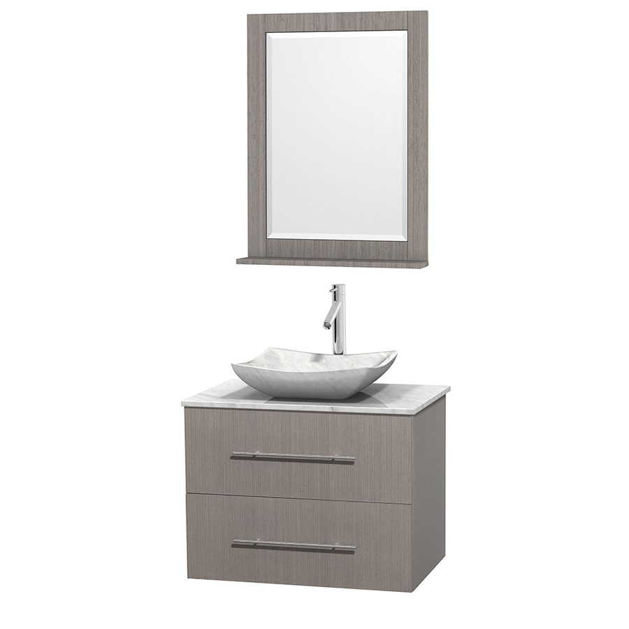 Wyndham Collection Centra Gray Oak Vessel Single Sink Oak Bathroom Vanity with Natural Marble Top (Mirror Included) (Common: 30-in x 20.5-in; Actual: 30-in x 20.5-in)