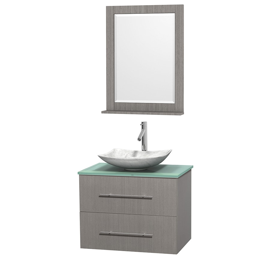 Wyndham Collection Centra Gray Oak Vessel Single Sink Oak Bathroom Vanity with Tempered Glass and Glass Top (Mirror Included) (Common: 30-in x 20.5-in; Actual: 30-in x 20.5-in)