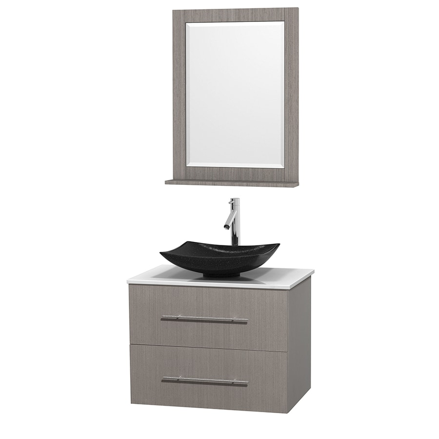 Wyndham Collection Centra Gray Oak Vessel Single Sink Oak Bathroom Vanity with Engineered Stone Top (Mirror Included) (Common: 30-in x 20.5-in; Actual: 30-in x 20.5-in)