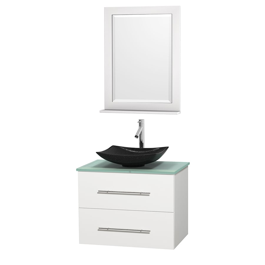 Wyndham Collection Centra White Vessel Single Sink Oak Bathroom Vanity with Tempered Glass and Glass Top (Mirror Included) (Common: 30-in x 20.5-in; Actual: 30-in x 20.5-in)