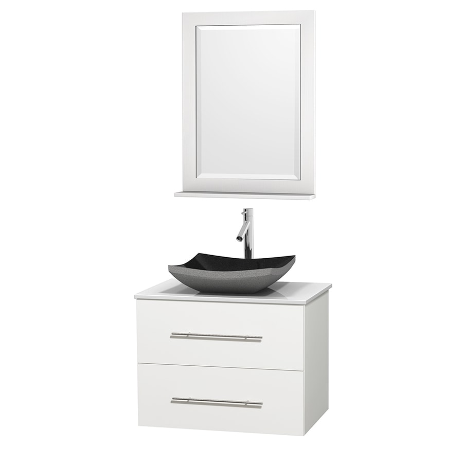 Wyndham Collection Centra White Vessel Single Sink Oak Bathroom Vanity with Engineered Stone Top (Mirror Included) (Common: 30-in x 20.5-in; Actual: 30-in x 20.5-in)