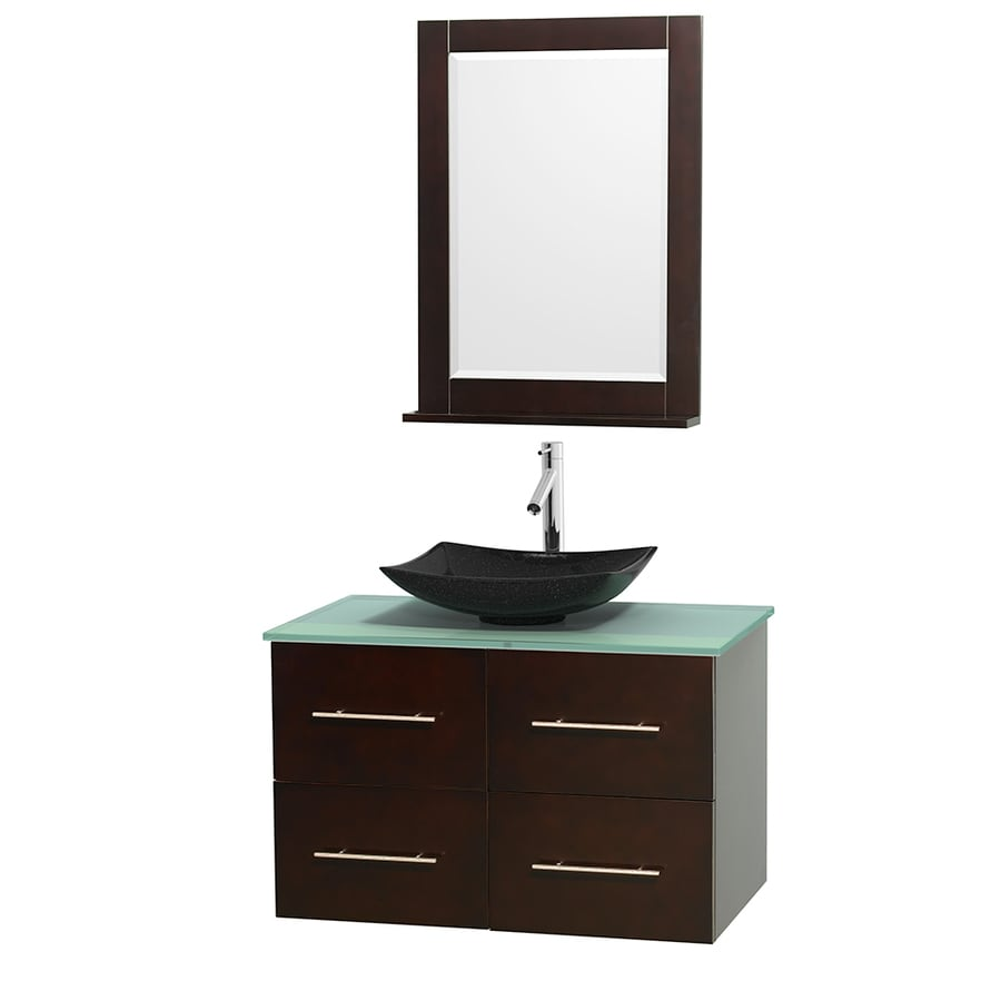 Wyndham Collection Centra Espresso Vessel Single Sink Oak Bathroom Vanity with Tempered Glass and Glass Top (Mirror Included) (Common: 36-in x 21.5-in; Actual: 36-in x 21.5-in)