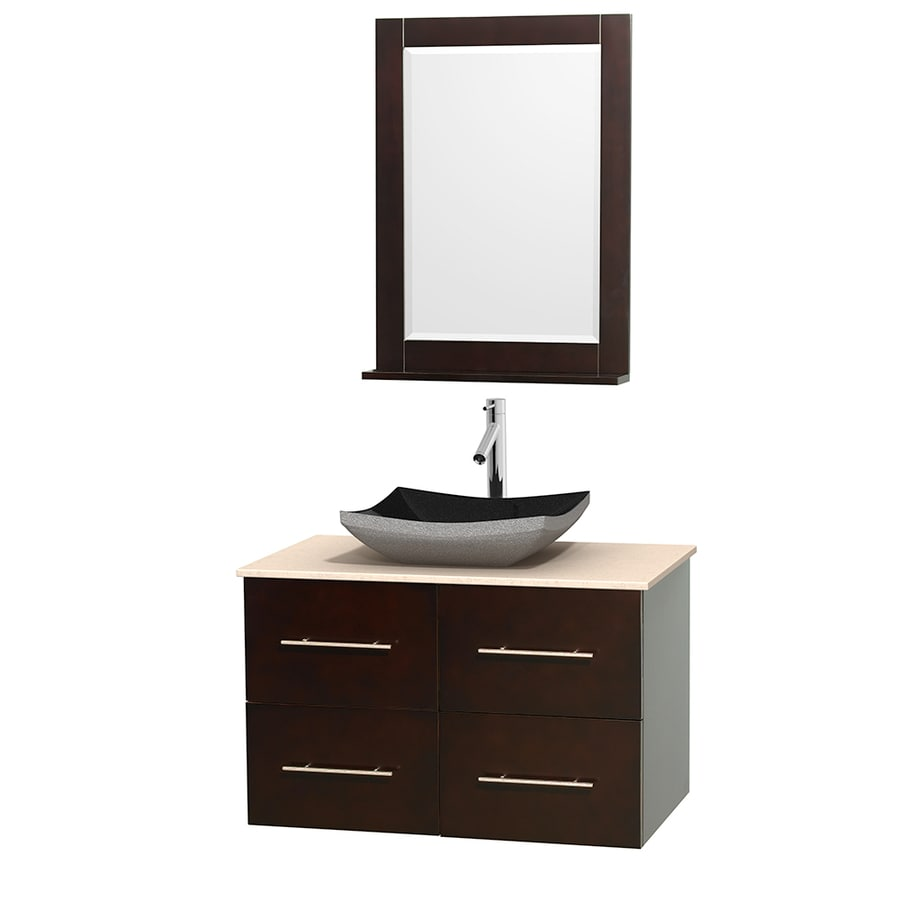 Wyndham Collection Centra Espresso Vessel Single Sink Oak Bathroom Vanity with Natural Marble Top (Mirror Included) (Common: 36-in x 21.5-in; Actual: 36-in x 21.5-in)