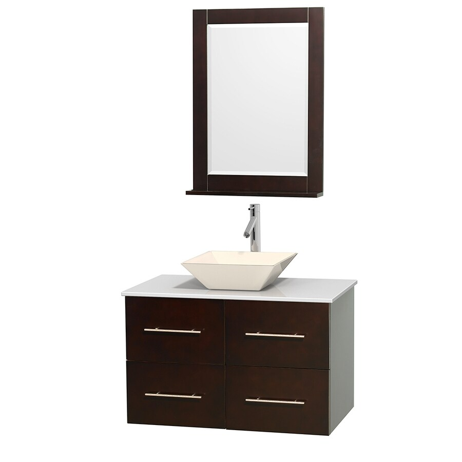 Wyndham Collection Centra Espresso Vessel Single Sink Oak Bathroom Vanity with Engineered Stone Top (Mirror Included) (Common: 36-in x 21.5-in; Actual: 36-in x 21.5-in)