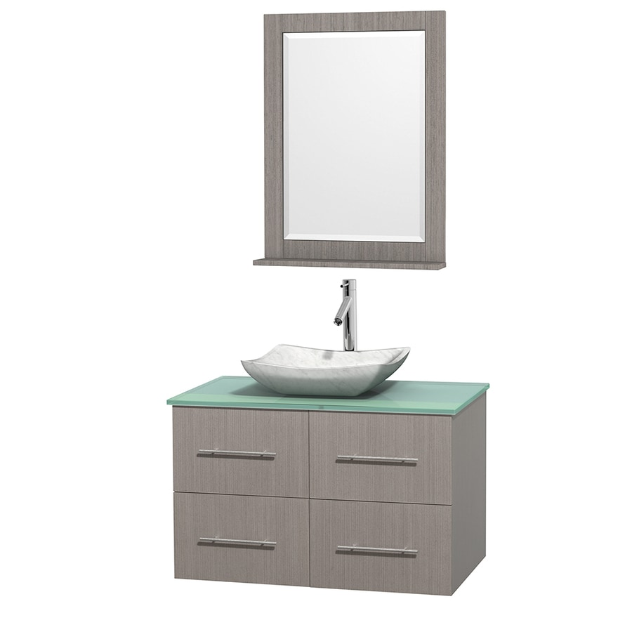 Wyndham Collection Centra Gray Oak Vessel Single Sink Oak Bathroom Vanity with Tempered Glass and Glass Top (Mirror Included) (Common: 36-in x 21.5-in; Actual: 36-in x 21.5-in)