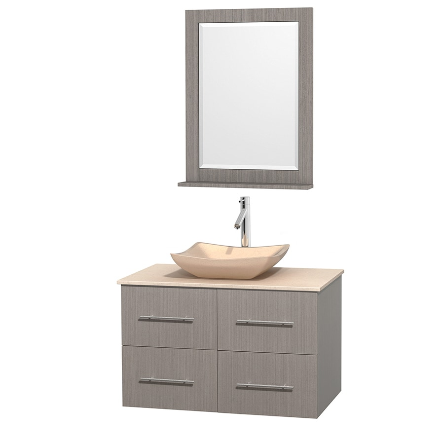 Wyndham Collection Centra Gray Oak Vessel Single Sink Oak Bathroom Vanity with Natural Marble Top (Mirror Included) (Common: 36-in x 21.5-in; Actual: 36-in x 21.5-in)