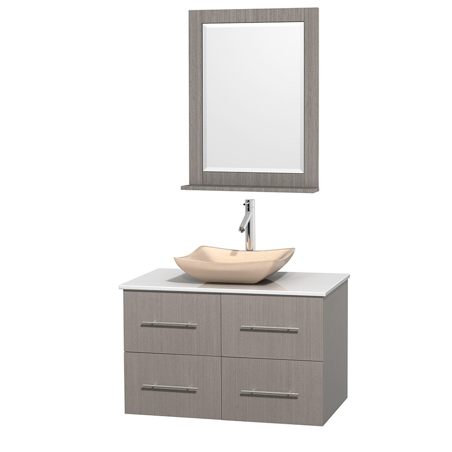 Wyndham Collection Centra Gray Oak Vessel Single Sink Oak Bathroom Vanity with Engineered Stone Top (Mirror Included) (Common: 36-in x 21.5-in; Actual: 36-in x 21.5-in)