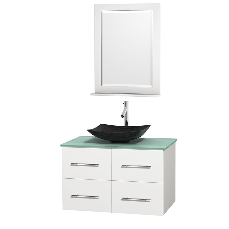 Wyndham Collection Centra White Vessel Single Sink Oak Bathroom Vanity with Tempered Glass and Glass Top (Mirror Included) (Common: 36-in x 21.5-in; Actual: 36-in x 21.5-in)