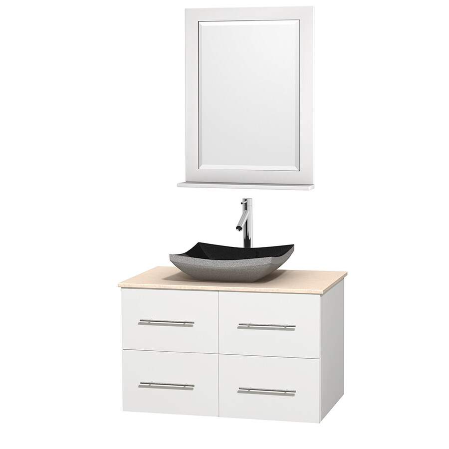 Wyndham Collection Centra White Vessel Single Sink Oak Bathroom Vanity with Natural Marble Top (Mirror Included) (Common: 36-in x 21.5-in; Actual: 36-in x 21.5-in)