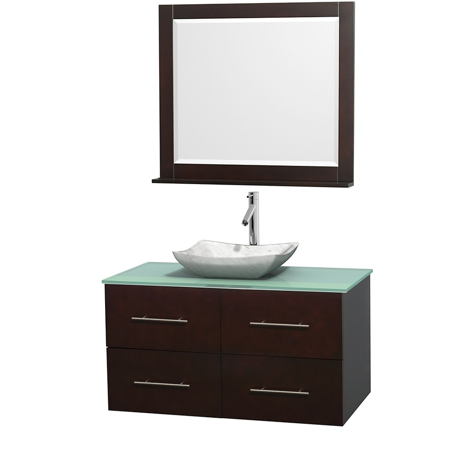 Wyndham Collection Centra Espresso Vessel Single Sink Oak Bathroom Vanity with Tempered Glass and Glass Top (Mirror Included) (Common: 42-in x 21.5-in; Actual: 42-in x 21.5-in)