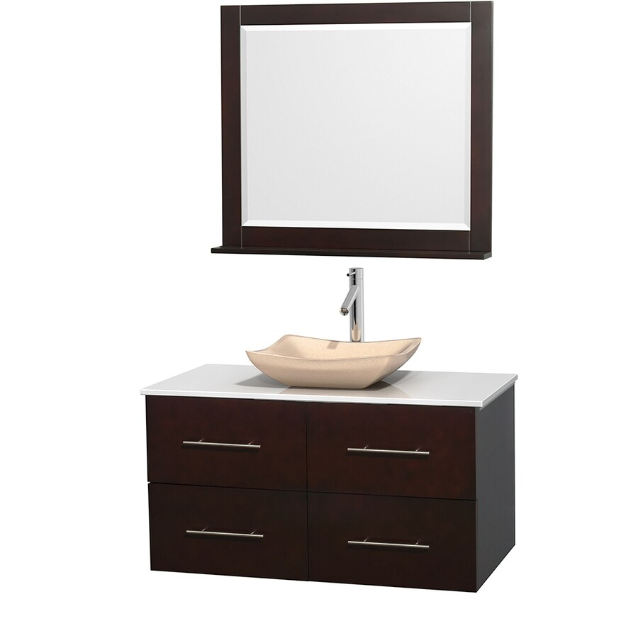 Wyndham Collection Centra Espresso Vessel Single Sink Oak Bathroom Vanity with Engineered Stone Top (Mirror Included) (Common: 42-in x 21.5-in; Actual: 42-in x 21.5-in)