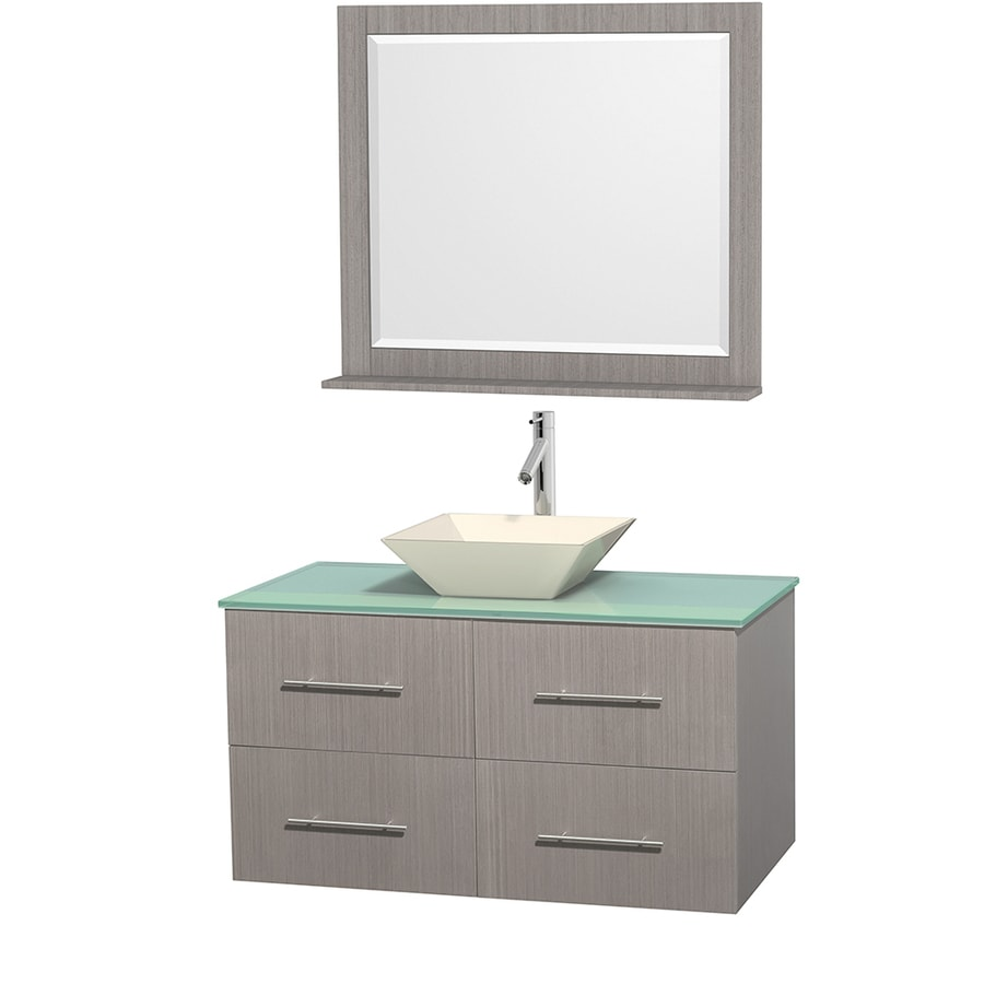 Wyndham Collection Centra Gray Oak Vessel Single Sink Oak Bathroom Vanity with Tempered Glass and Glass Top (Mirror Included) (Common: 42-in x 21.5-in; Actual: 42-in x 21.5-in)
