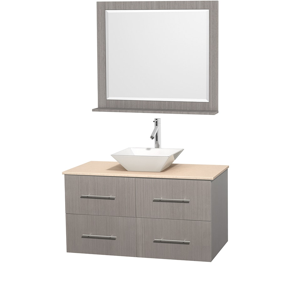 Wyndham Collection Centra Gray Oak Vessel Single Sink Oak Bathroom Vanity with Natural Marble Top (Mirror Included) (Common: 42-in x 21.5-in; Actual: 42-in x 21.5-in)