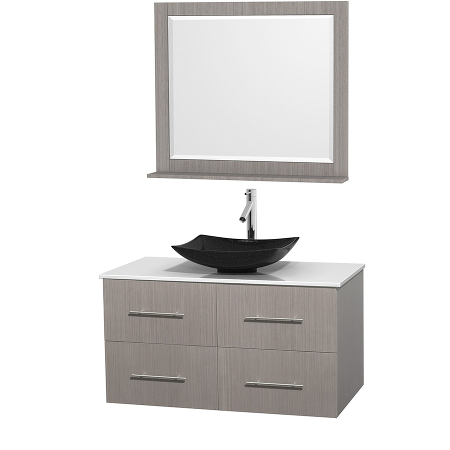 Wyndham Collection Centra Gray Oak Vessel Single Sink Oak Bathroom Vanity with Engineered Stone Top (Mirror Included) (Common: 42-in x 21.5-in; Actual: 42-in x 21.5-in)