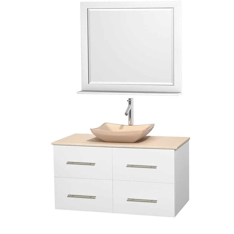 Wyndham Collection Centra White Vessel Single Sink Oak Bathroom Vanity with Natural Marble Top (Mirror Included) (Common: 42-in x 21.5-in; Actual: 42-in x 21.5-in)